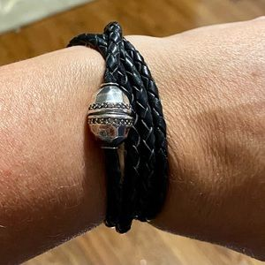 Genuine Leather and Sterling Silver Wrap Bracelet